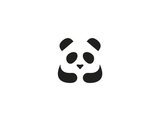 黑白熊猫logo图形设计